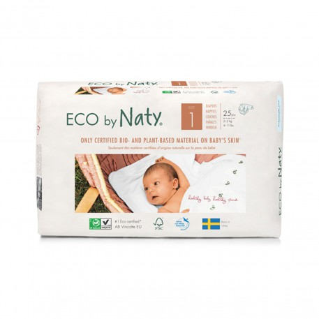 Pañales Eco by Naty - Talla 1 (2 - 5 kg) 25 und.